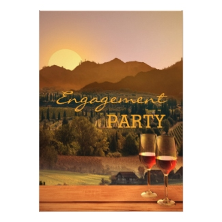 Vineyard Wine Themed Engagement Party Invitation