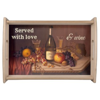 Vintage Still Life with Wine Serving Tray