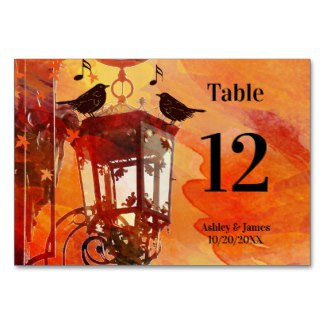 Watercolor Fine Art Fall Colorful Table Number Card