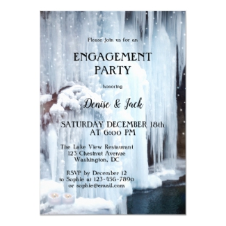 Waterfall Ice and Light Sparkles Engagement Invitation
