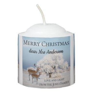 Winter Wonderland Landscape with Deer Candle