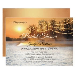 Winter Wonderland String Lights Bridal Shower Invitation