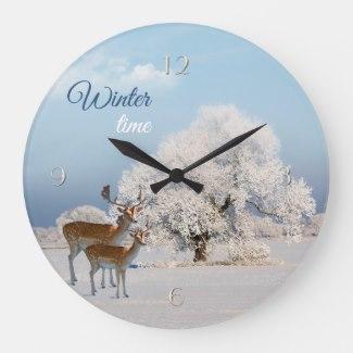 Winter Wonderland with Deer Wall Clock