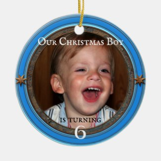 Custom Photo Blue Kids Birthday Christmas Ceramic Ornament