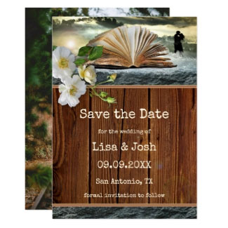 Custom Photo Book Lover Library Save the Date Card