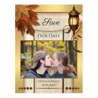 Artistic Your Photo Fall Lantern Save the Date Postcard