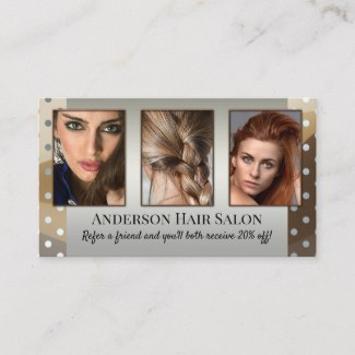 Custom Photo Showcase Hair Stylist Referral Business Card