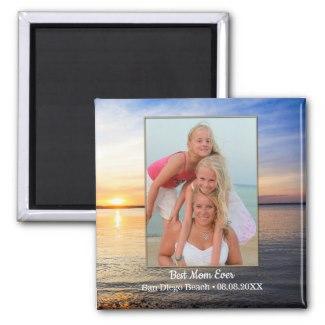 Beach Family Best Mom Keepsake Photo Magnet