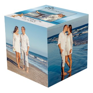 Beach Wedding Keepsake Photo Cube