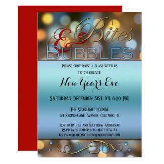 Bites Bubbles Sparkles New Year Party Invitation