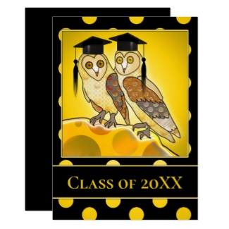 Black Gold Cute Owls Graduation Party Invitation