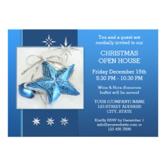 Blue Christmas Open House Party Invitation