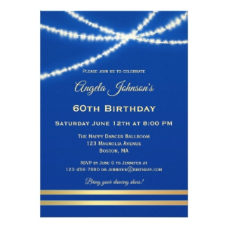 Blue Gold String Lights Chic Birthday Invitation