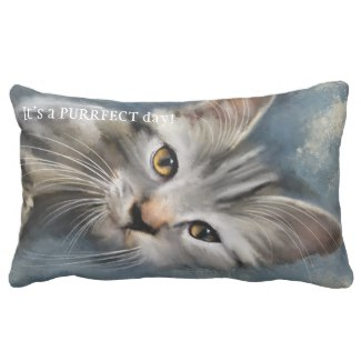 Blue Grey Painted Tabby Cat Pillow