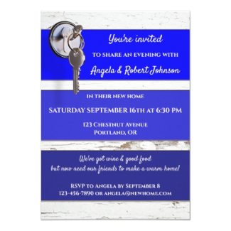 Blue Paint Swatch Key Housewarming Party Invitation