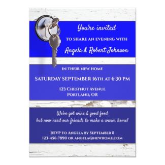 Blue Paint Swatch Key Housewarming Party Invitation