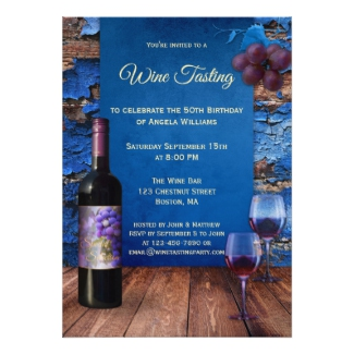 Blue Rustic Wine Tasting Party Invitation