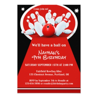 Bowling Kids Birthday Party Invitation