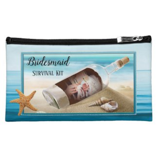 Bridesmaid Funny Beach Wedding Survival Kit Cosmetic Bag