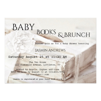 Baby Books Brunch Lace Baby Shower Invitation