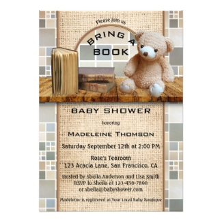 Bring a Book Teddy Bear Baby Shower Invitation