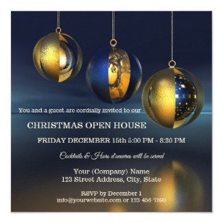 Chic Blue Gold Artistic Christmas Party Invitation