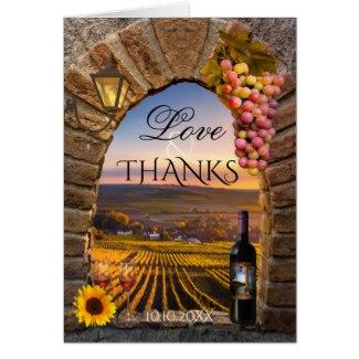 Classic Stylish Vineyard Wine Wedding Photo Thank You Card