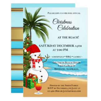Colorful Christmas Beach Celebration Invitation