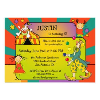 Colorful Circus Kids Birthday Party Invitation