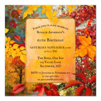 Colorful Fall Leaves Birthday Party Invitation