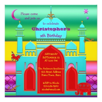 Colorful Indian Fantasy Kids Birthday Invitation