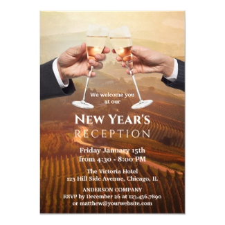Corporate Champagne New Year Open House Reception Invitation