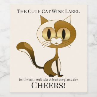 Crazy Cat Lady Funny Artistic Wine Label