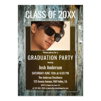 Custom Photo Aged Wood Graduation Party Invitation