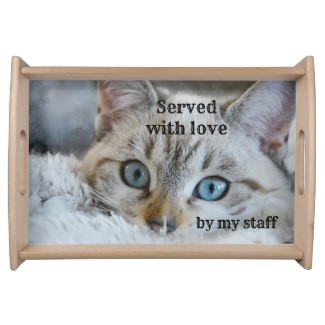 Cute Cat Lover Funny Personalized Serving Tray