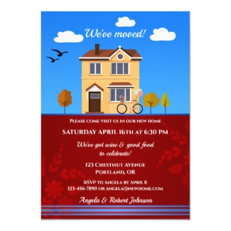 Detached House Cartoon Housewarming Invitation