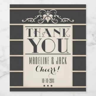 Elegant Art Deco Gatsby Thank You Wine Label