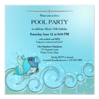 Artistic Fish Summer Pool Party Invitation
