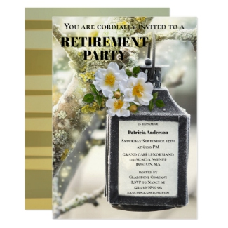 Elegant Winter Lantern Retirement Party Invitation