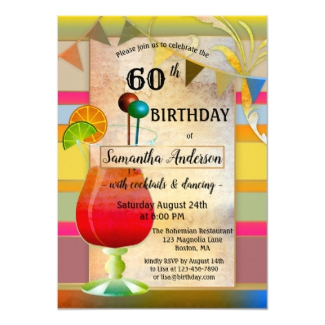 Festive Bohemian Cocktail Birthday Party Invitation