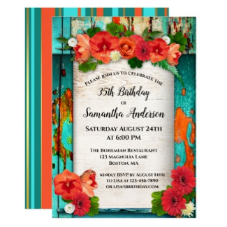 Colorful Festive Boho Floral Birthday Invitation