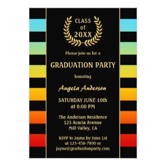 Festive Colorful Striped Graduation Party Invitation