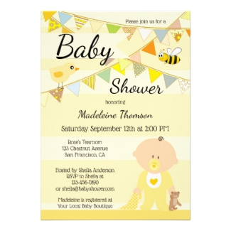 Gender Neutral Cute Yellow Baby Shower Invitation