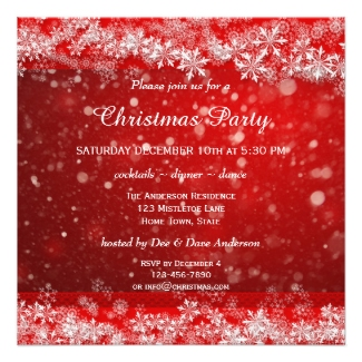 Festive Red White Sparkling Snow Party Invitation