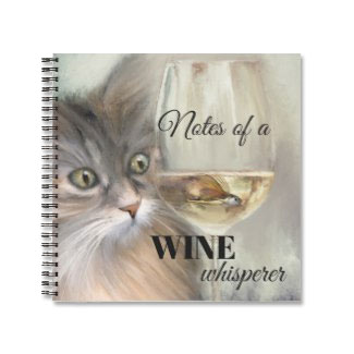 Funny Cat Original Art Wine Lover Notebook