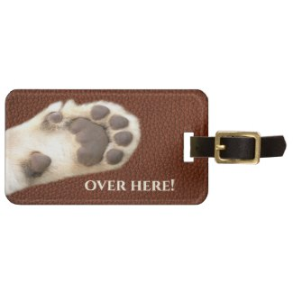 Funny Cat Paw Faux Leather Luggage Tag