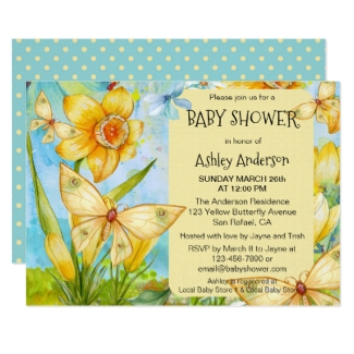 Gender Neutral Spring Daffodil Baby Shower Invitation
