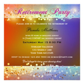 Hippie Sparkling Light Retirement Party Invitation