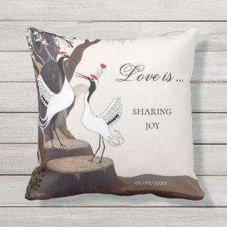 Japanese Cranes Love Birds Romantic Pillow