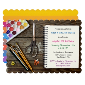 Kids Art and Crafts Birthday Party Invitation